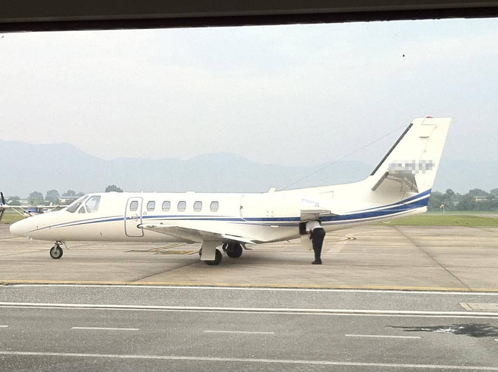 One of his private jet.